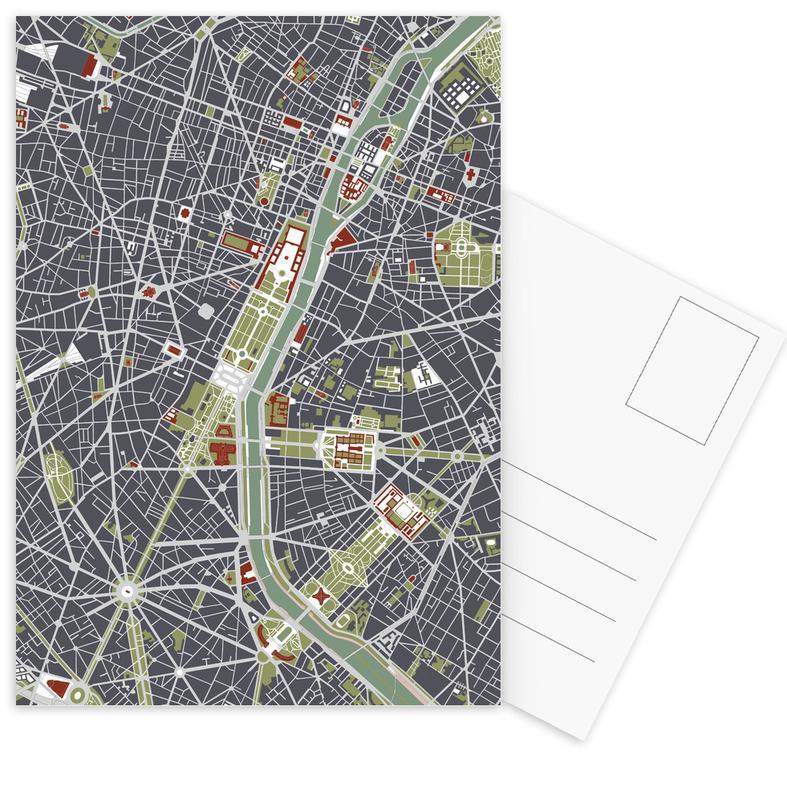 City Maps, Paris, Paris Engraving Postcard Set