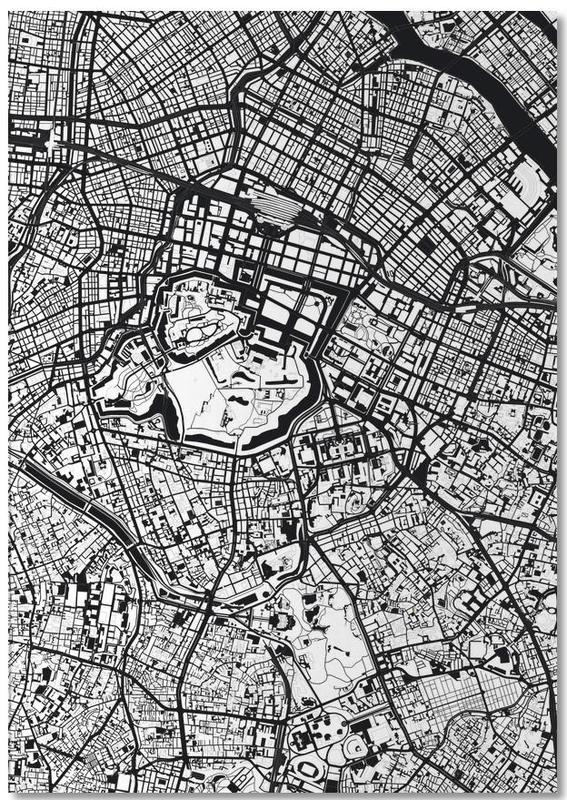 Zwart en wit, Tokyo, Stadskaarten, Tokyo Black & White notitieblok