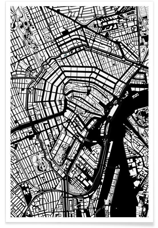 Black & White, Amsterdam, Amsterdam Black And White Poster