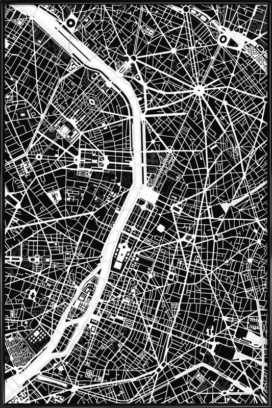 Paris Black & White -Bild mit Kunststoffrahmen