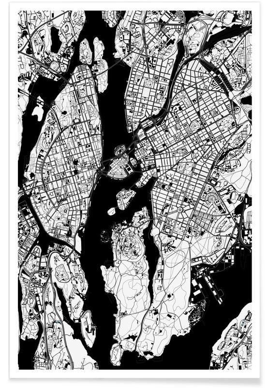 Schwarz & Weiß, Stockholm, Stockholm Black & White -Poster