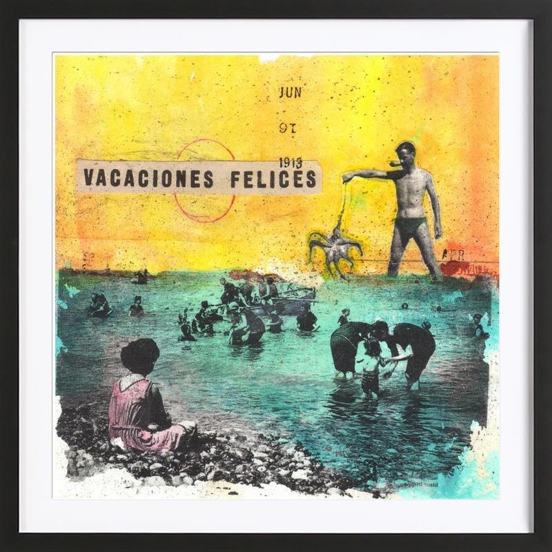 vacaciones felices -Bild mit Holzrahmen