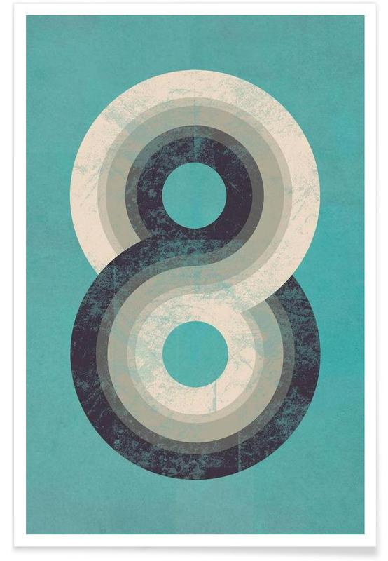 Numre, Retro, Eight Plakat