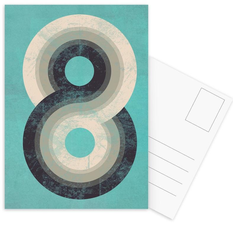 Numbers, Retro, Eight Postcard Set