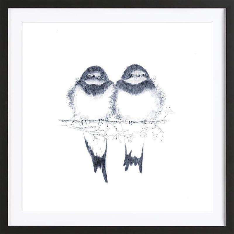 Birds -Bild mit Holzrahmen