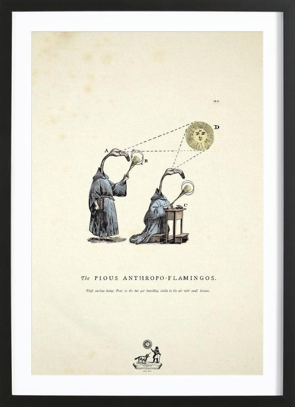 The pious anthropo-flamingos -Bild mit Holzrahmen