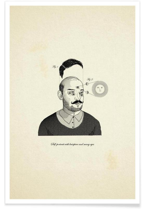 , Self-portrait with hairpiece and many eyes affiche