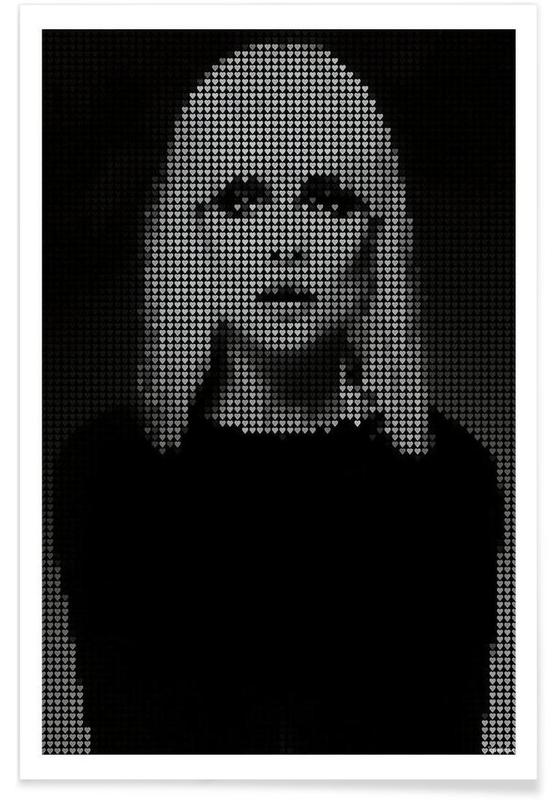 Rock, Black & White, Blondie Pointillism Poster
