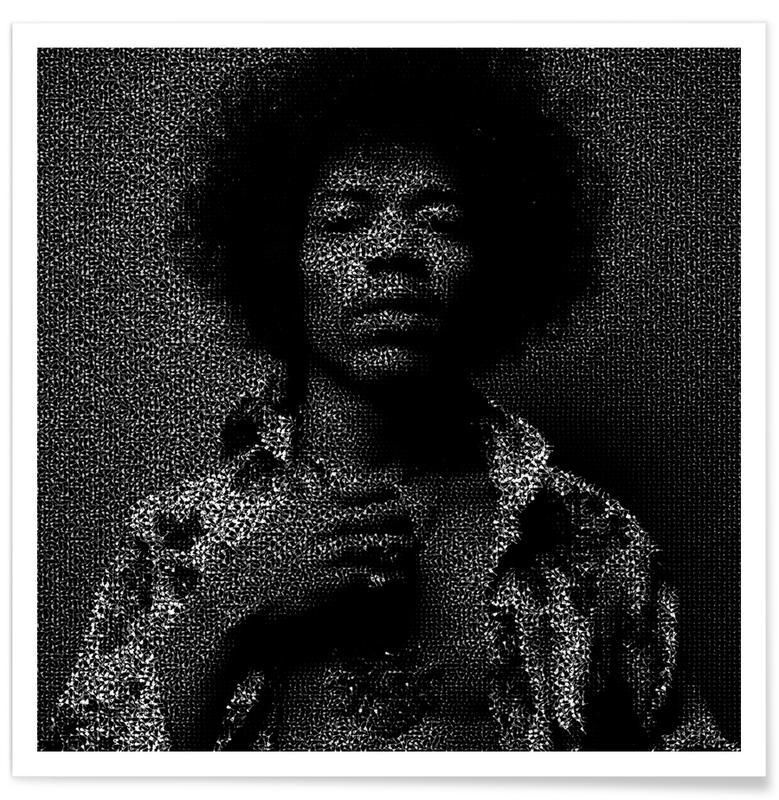 Jimi Hendrix, Noir & blanc, Pointillisme - Jimi Hendrix affiche