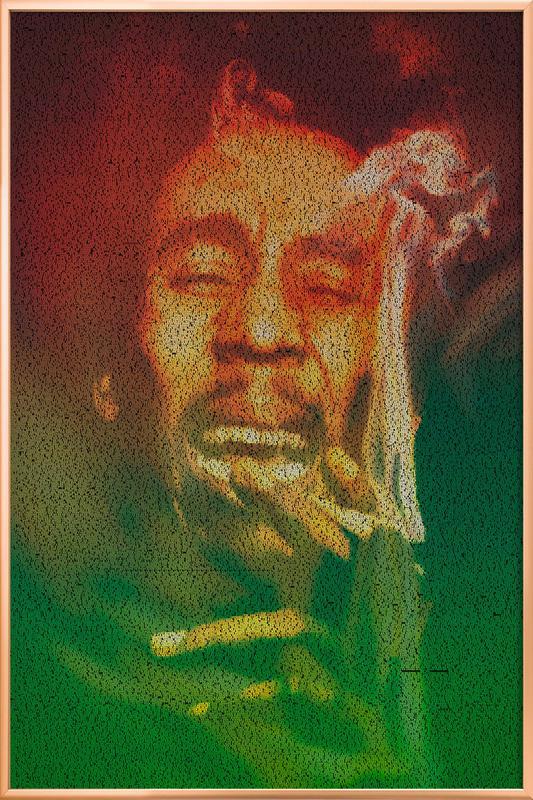 Marley -Poster im Alurahmen