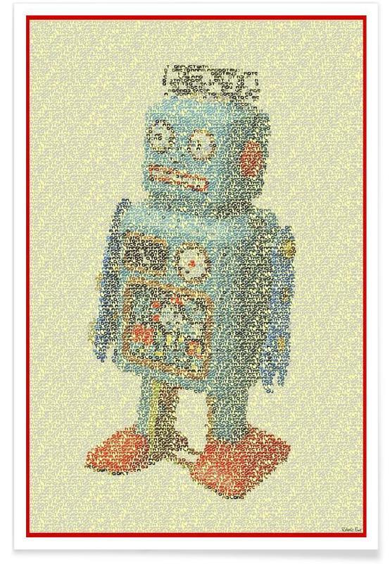Art pour enfants, Pointillisme - Les lois de la robotique affiche