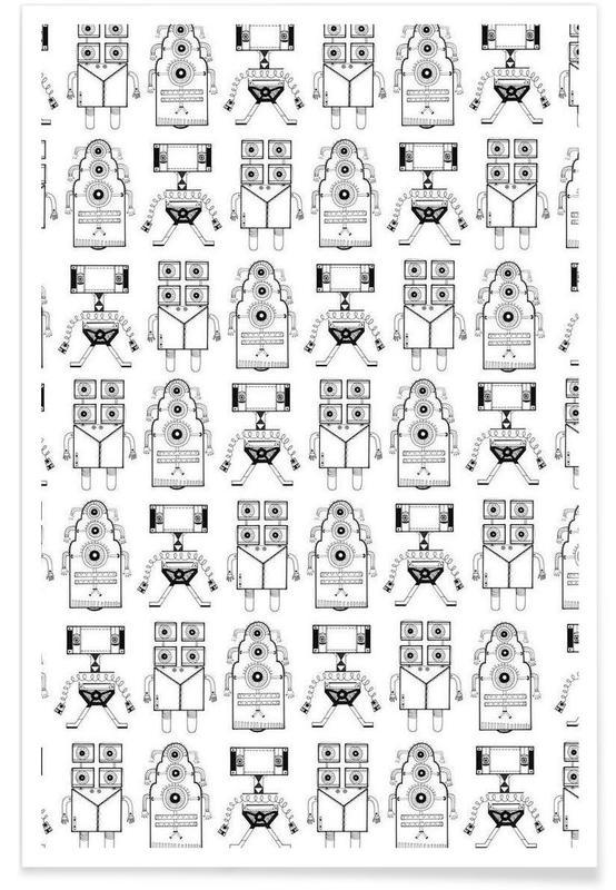 Art pour enfants, Robots (patroonrobotskopie) affiche