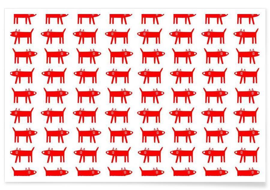Chiens, Motifs, dog pattern 2 affiche