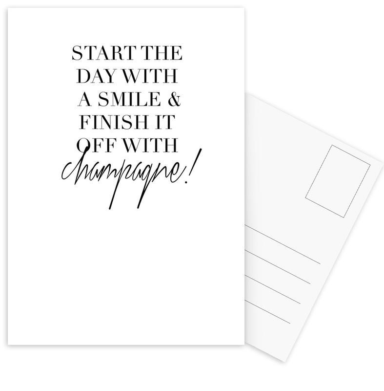 Black & White, Motivational, Quotes & Slogans, Start Postcard Set