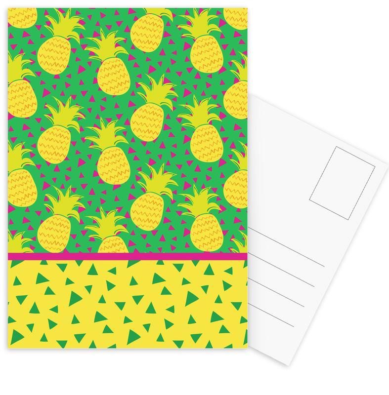 Pineapples, Falling Pineapples Postcard Set