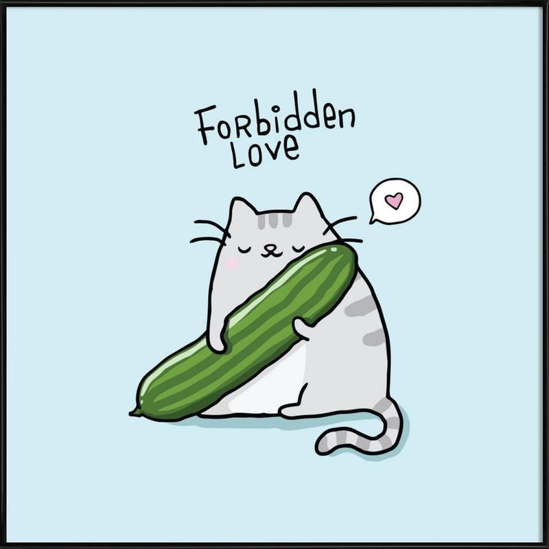 Katzen, Lustig, Cat Cucumber -Bild mit Kunststoffrahmen