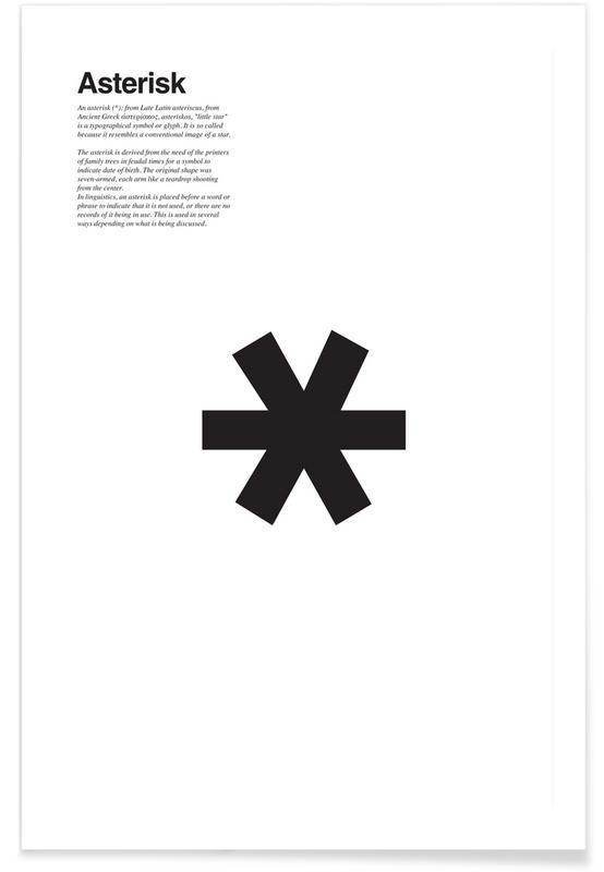 Zwart en wit, Symbolen, Asterisk poster