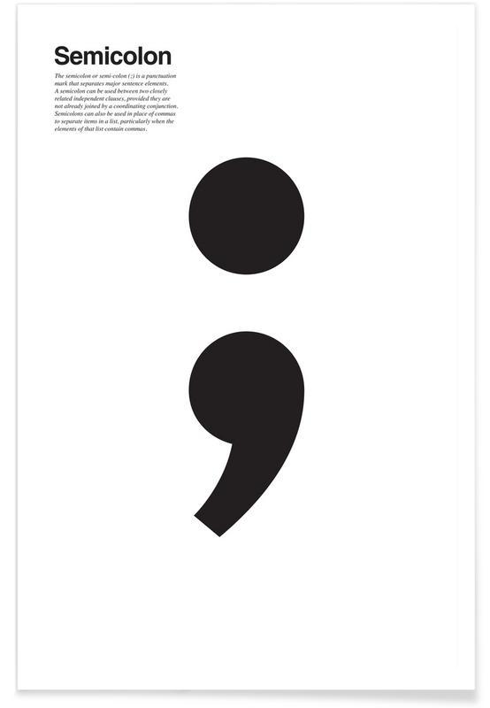 Zwart en wit, Symbolen, Semicolon poster