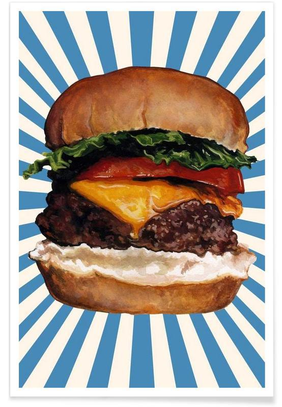 Rétro, Burgers, Cheeseburger affiche