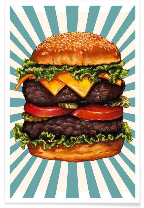 Retro, Burgere, Double Cheeseburger Plakat