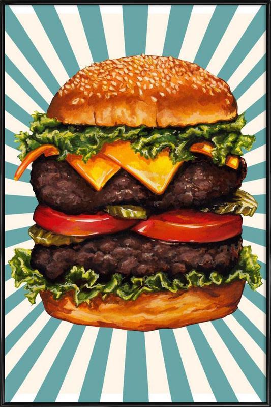 Double Cheeseburger -Bild mit Kunststoffrahmen
