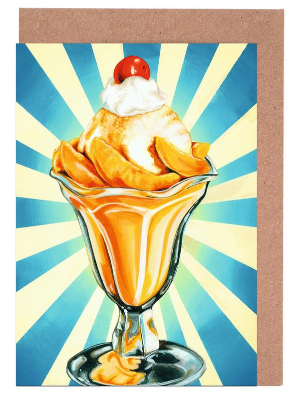 Ice Cream, Retro, Peach Sundae Greeting Card Set