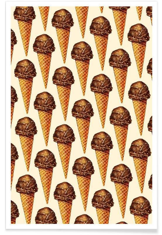 Rétro, Glaces, Chocolat, Chocolate Scoop Pattern affiche