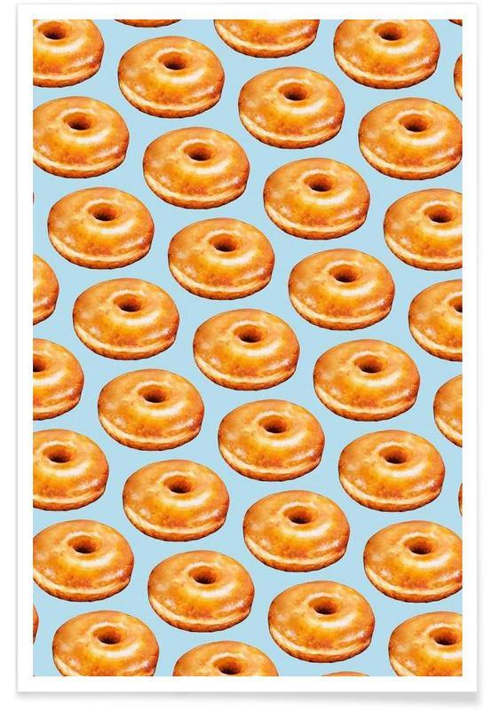 Rétro, Glazed Doughnut Pattern affiche