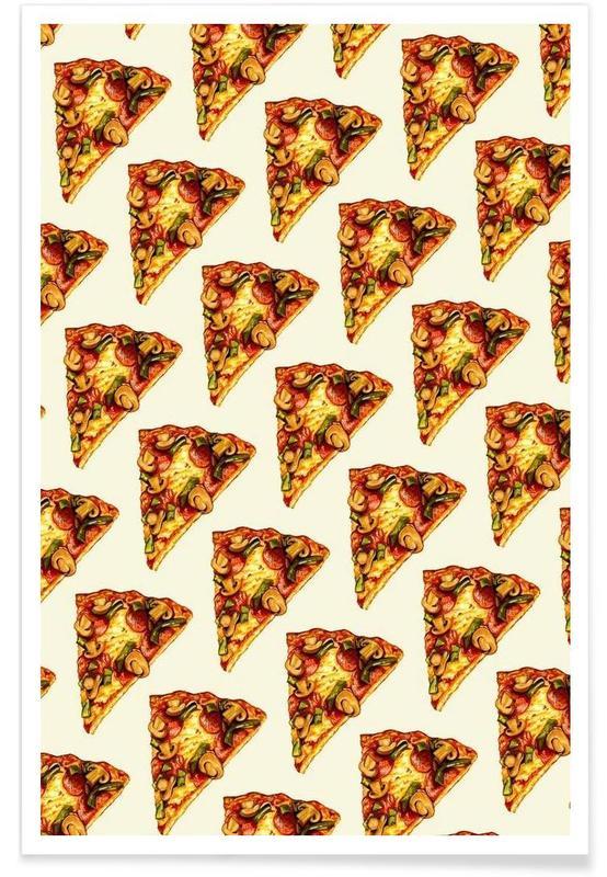 Pizzas, Rétro, Pizza Pattern affiche