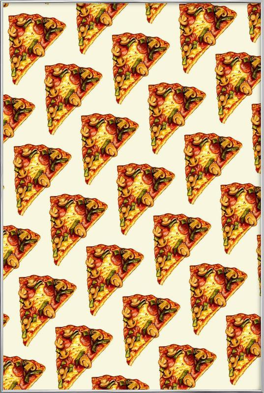 Pizza Pattern Poster in Aluminium Frame
