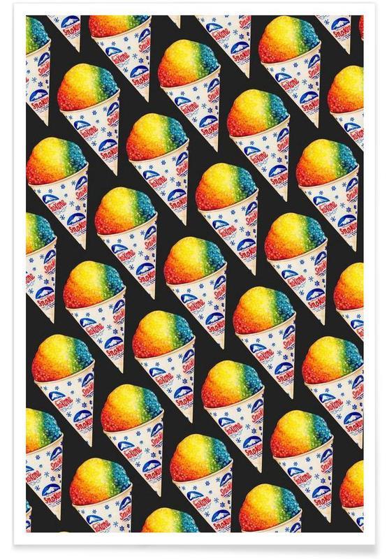 Rétro, Glaces, Snow Cone Pattern affiche
