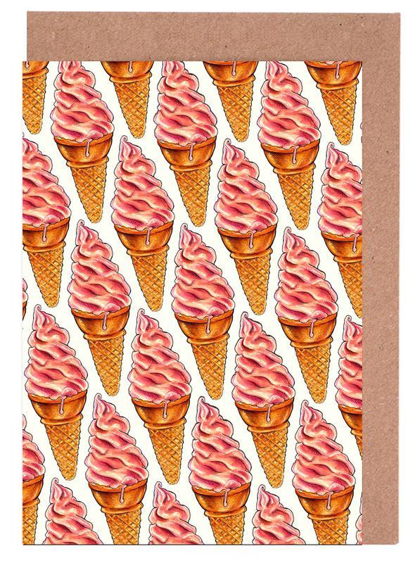 Strawberry Soft Serve Pattern -Grußkarten-Set