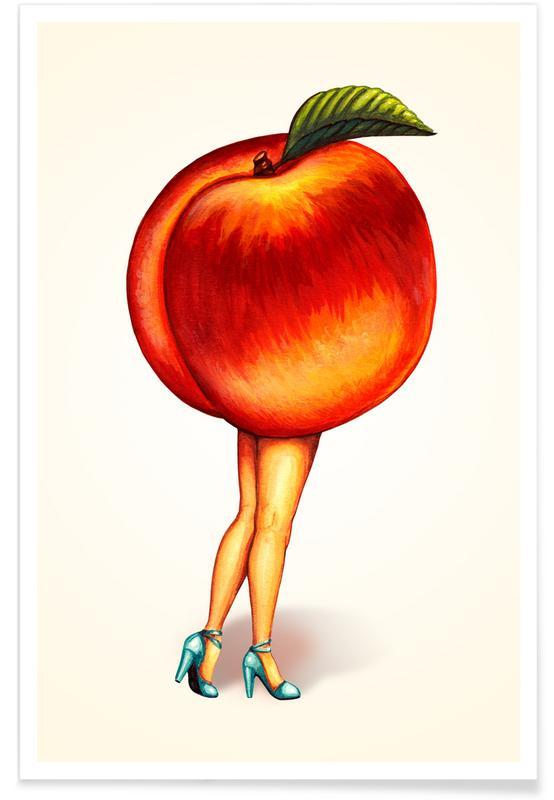 Rétro, Fruit Stand - Peach affiche