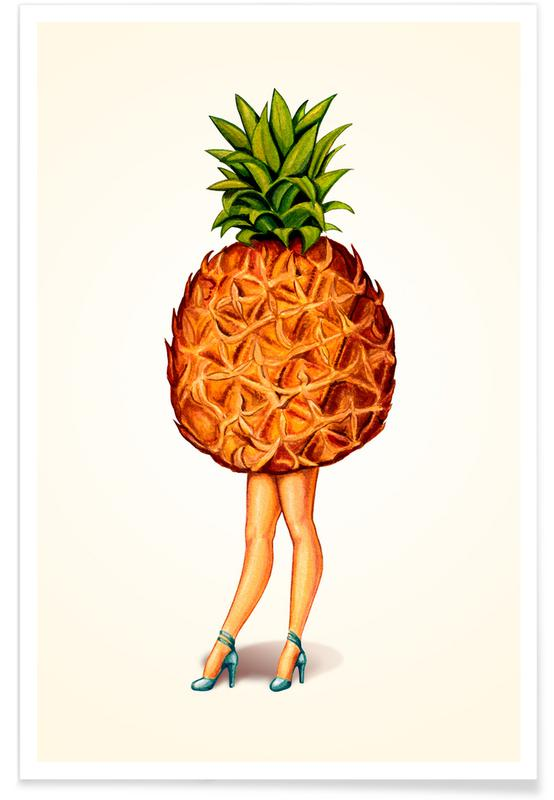 Ananassen, Retro, Fruit Stand - Pineapple poster