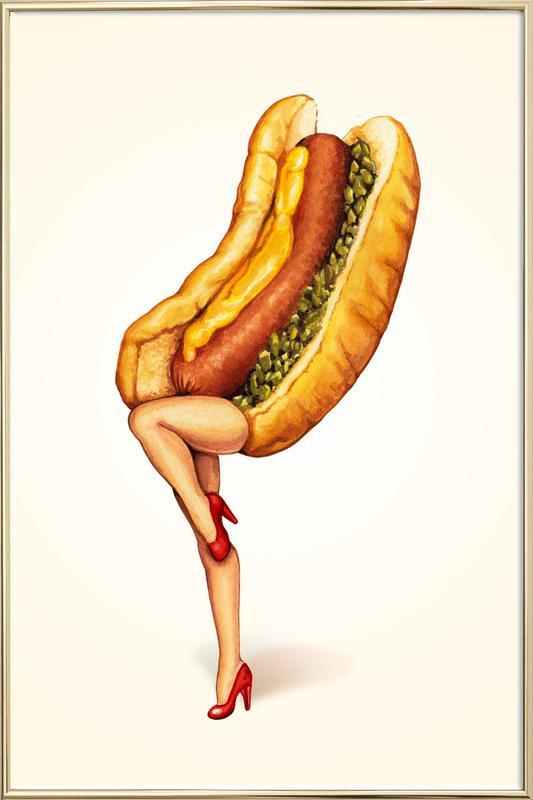 Hotdog Girl Poster in Aluminium Frame