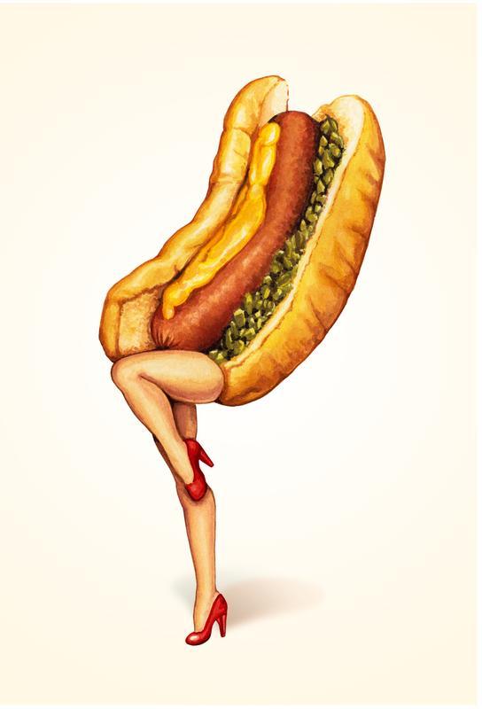 Hotdog Girl Aluminium Print