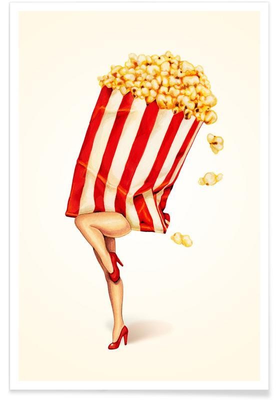 Retro, Popcorn Girl -Poster