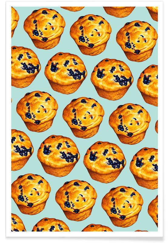 Rétro, Blueberry Muffin Pattern affiche