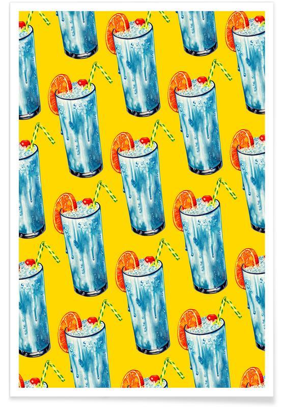 Blue Hawai Pattern affiche