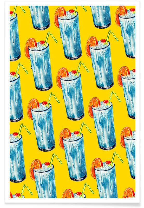 Blue Hawai Pattern Poster