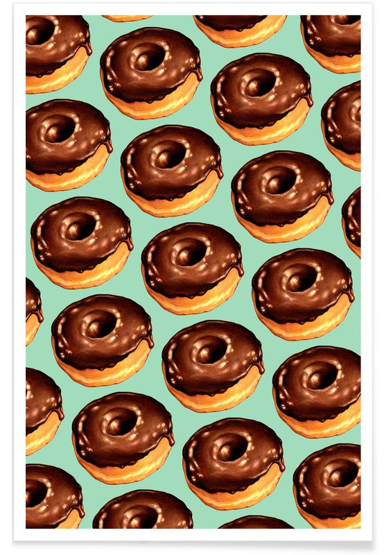 Chocolate Donut Pattern -Teal affiche
