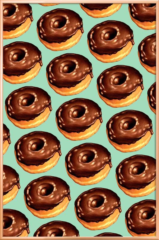 Chocolate Donut Pattern -Teal Poster in Aluminium Frame