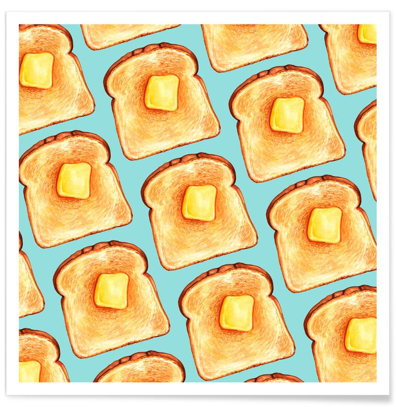 Breakfast Pattern Blue Toast affiche