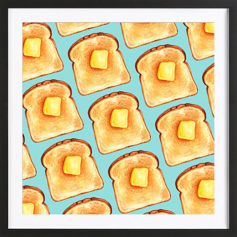 Breakfast Pattern Blue Toast Framed Print