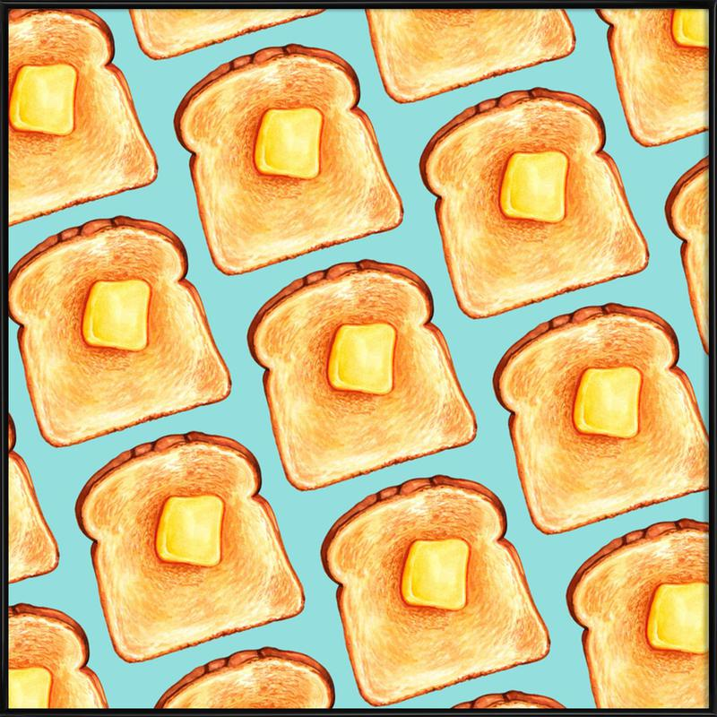 Breakfast Pattern Blue Toast Framed Poster