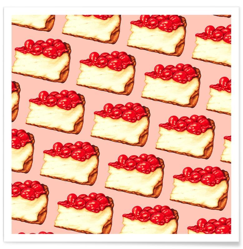 Gâteaux, Cherry Cheesecake Pattern Pink affiche