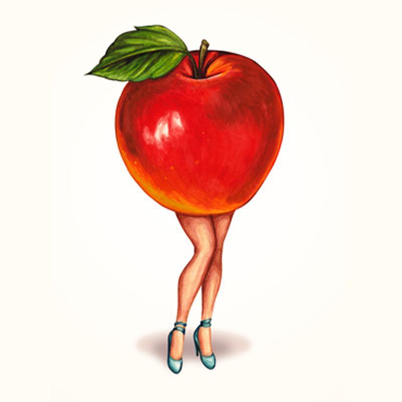 Fruit Girls Apple tableau en verre
