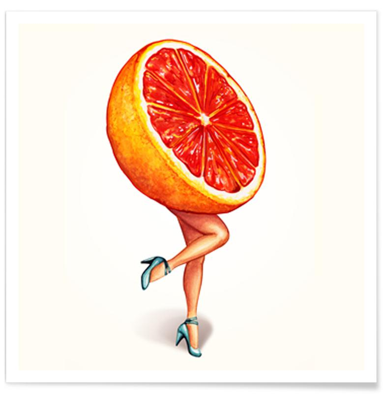 Fruit Girls Grapefruit Poster