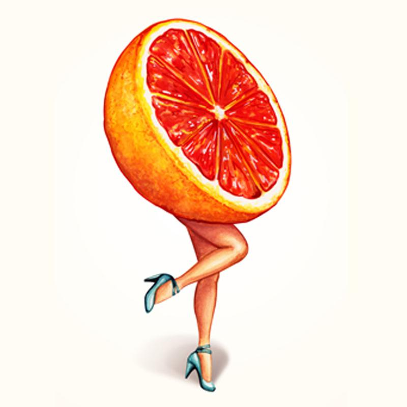 Fruit Girls Grapefruit Canvas Print