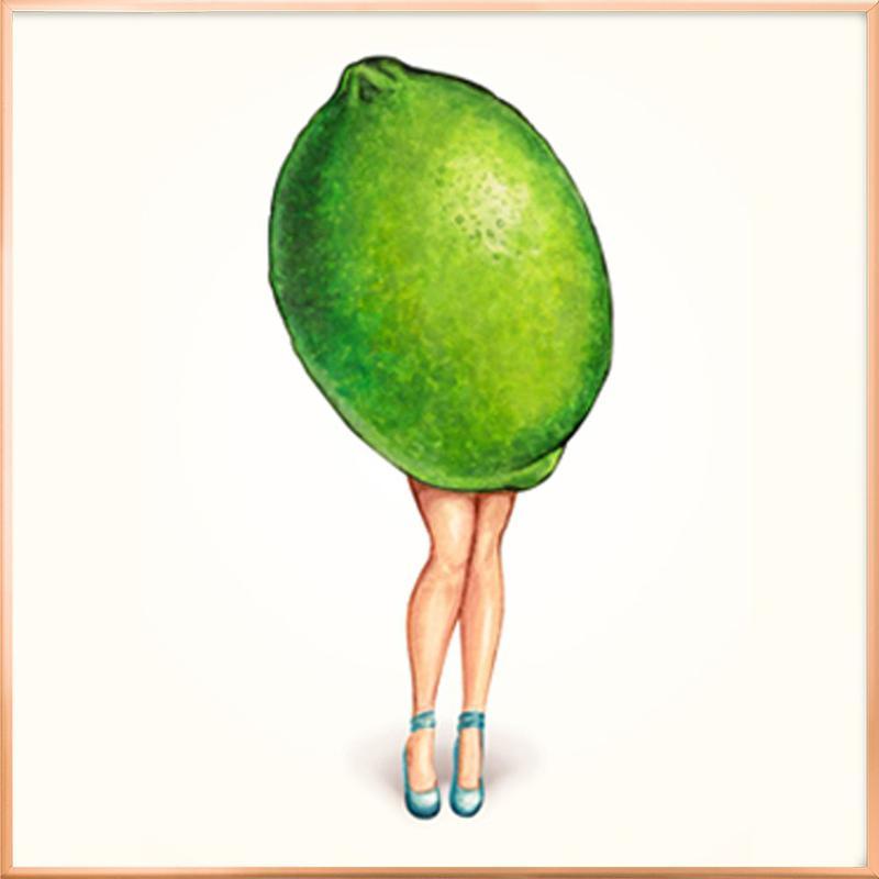 Fruit Girls Lime poster in aluminium lijst